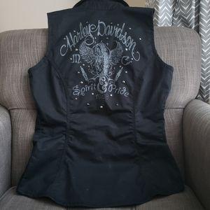 🎀Harley Davidson Zip Front Studded Winged Vest
